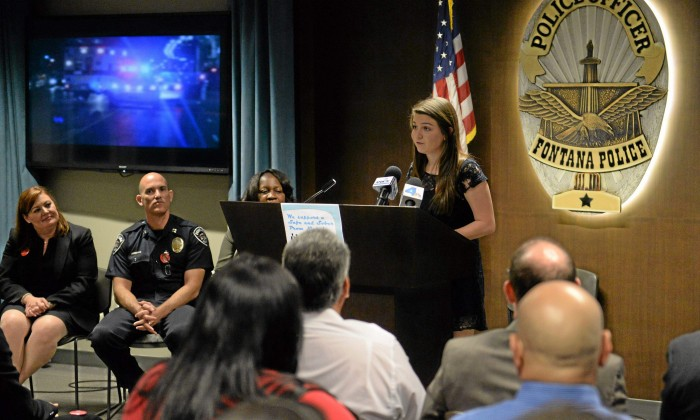 Taylor Pope, 17, senior from Summit High School speaks during the Safe and Sober Prom Campaign kick-off at the Fontana Police Department on Tuesday. The city of Fontana with FUSD and community leaders are celebrating Alcohol Awareness Month by launch a community wide action campaign promoting a safe and sober prom season. John Valenzuela — Staff photographer