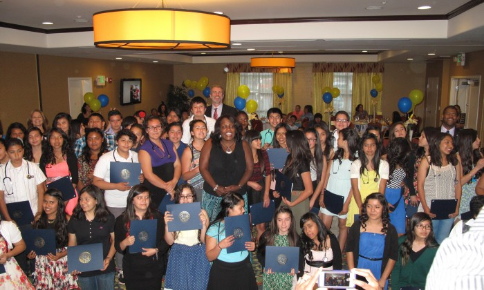 Sequoia students participating in Kaiser's Hippocrates Circle Program gather for a photo. - Fontana Herald News